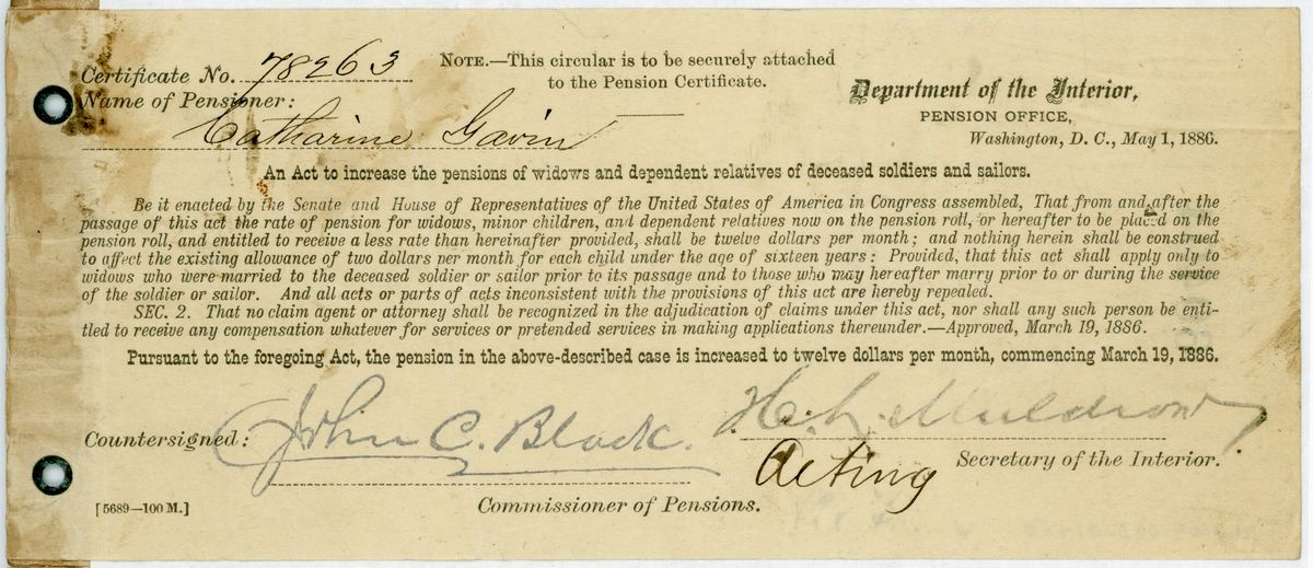 Image: Pension Certificate No. 78263