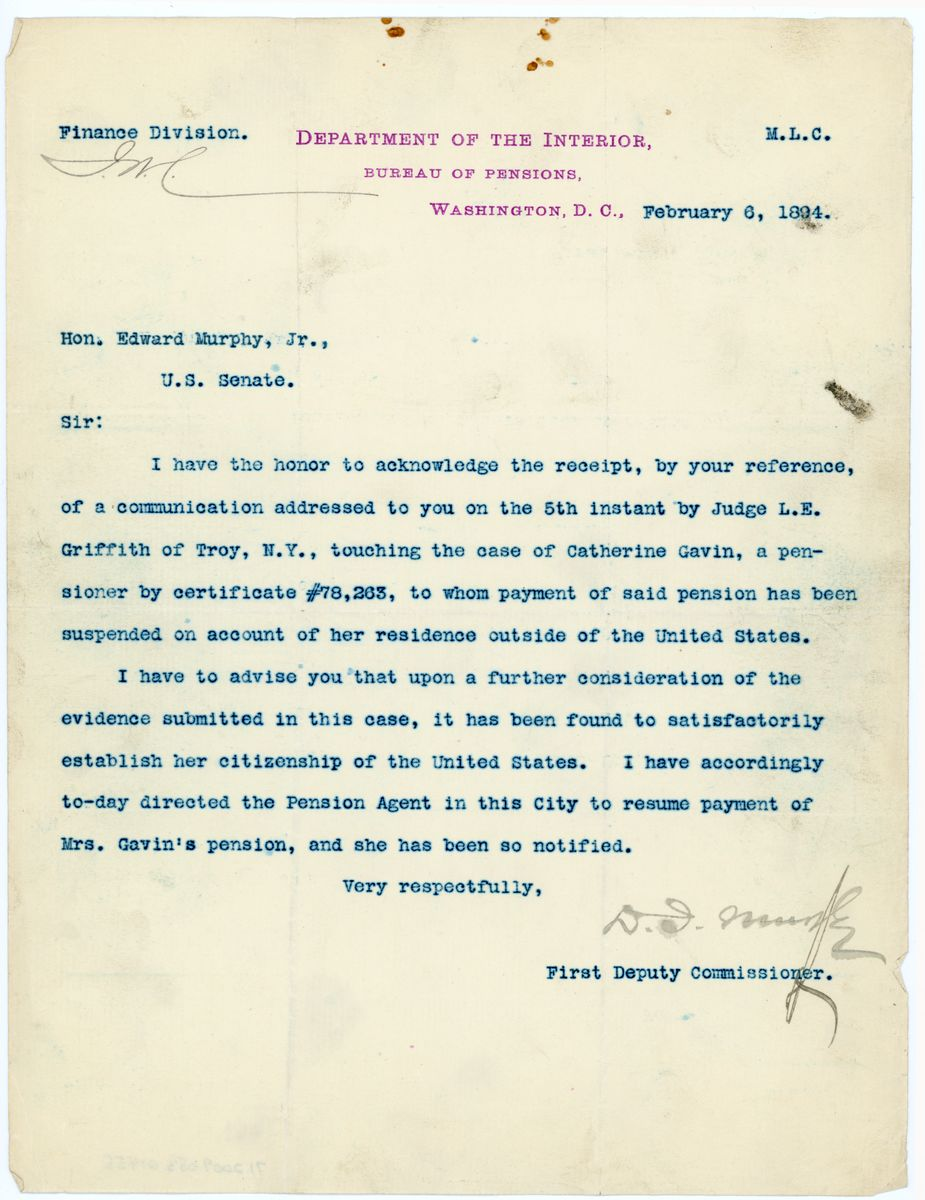 Image: Letter from First Deputy Comissioner, Bureau of Pensions, to Edward Murphy, Jr.