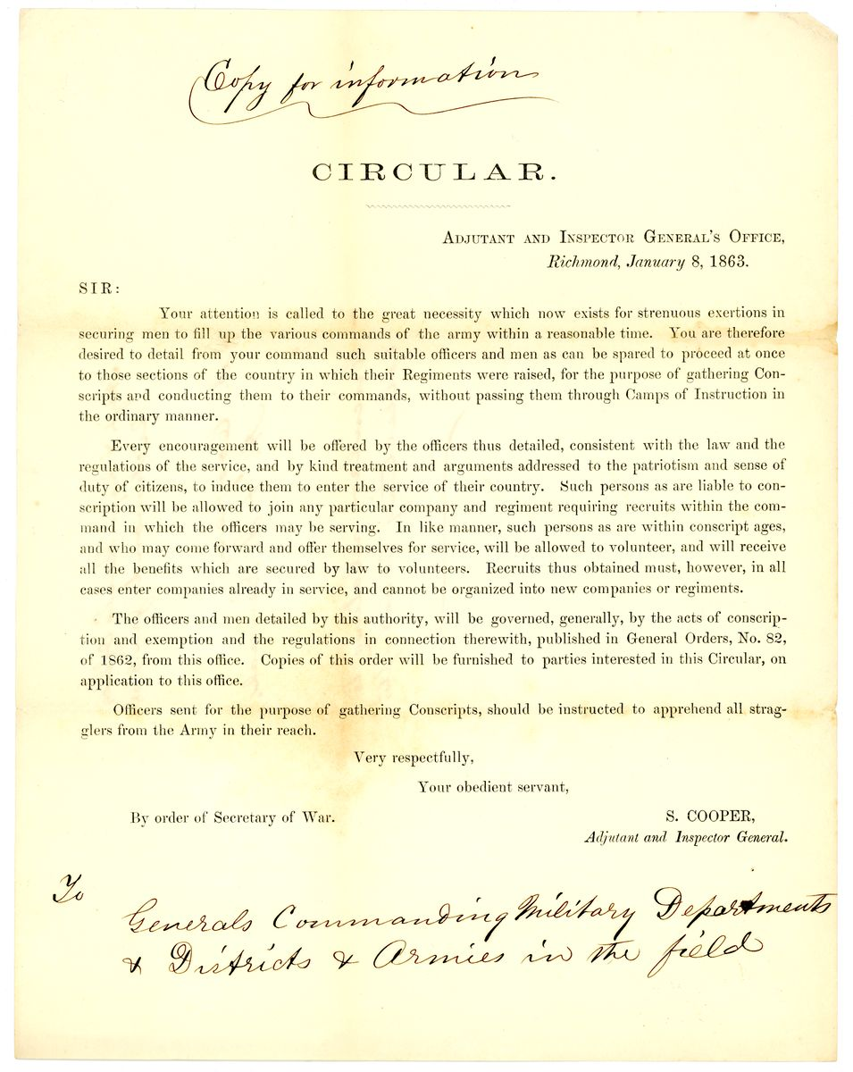 Image: Circular by the Adjutant and Inspector General's Office