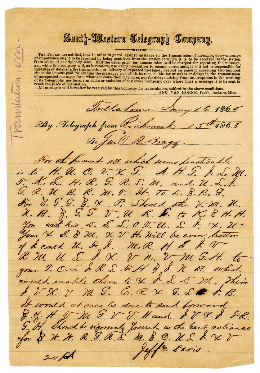 Image: Cipher Dispatch from Jefferson Davis to Braxton Bragg
