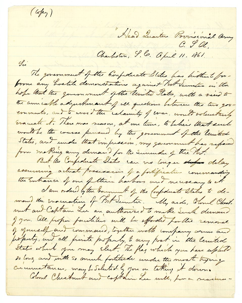 Image: Letter from P.G.T. Beauregard to Robert Anderson