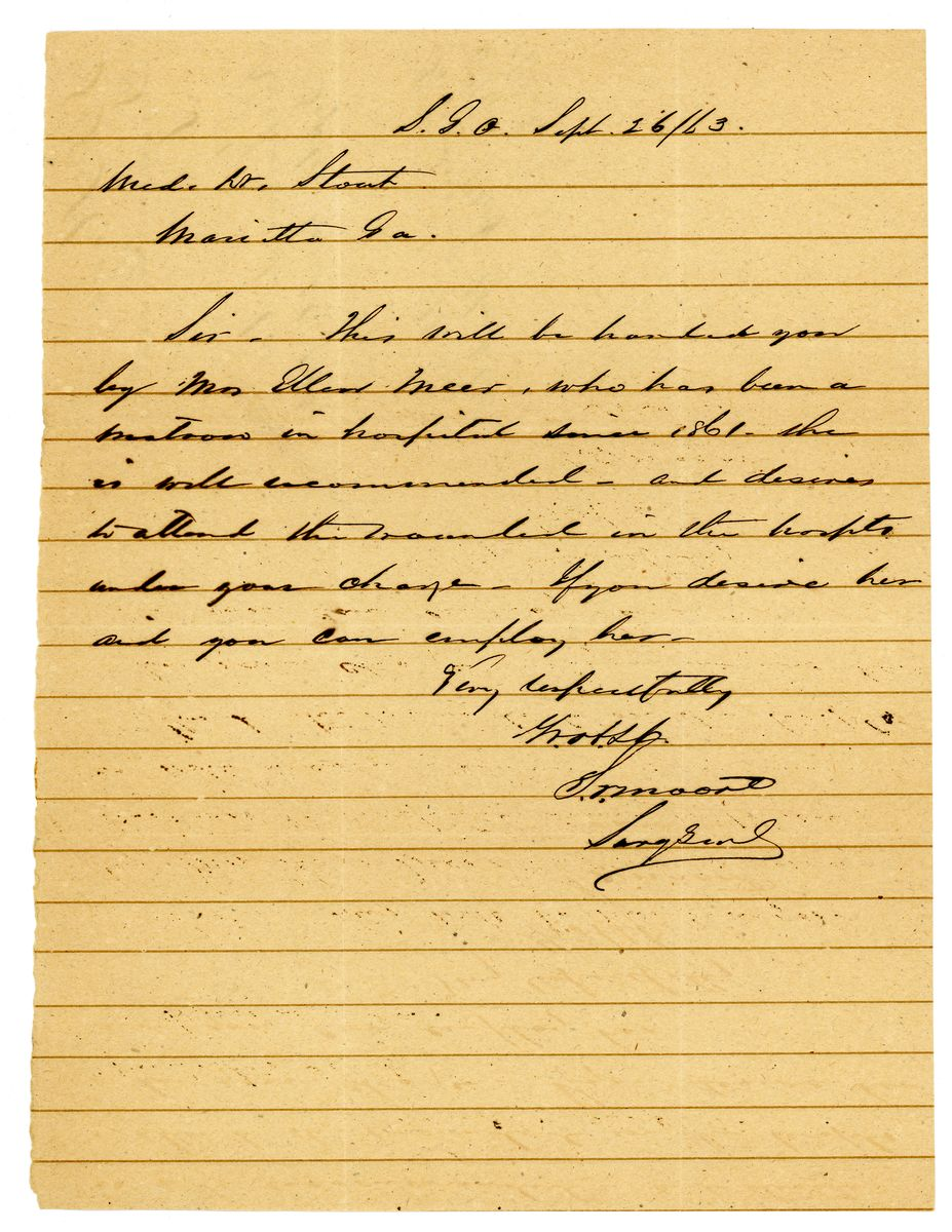 Image: Letter from Samuel P. Moore to Samuel H. Stout