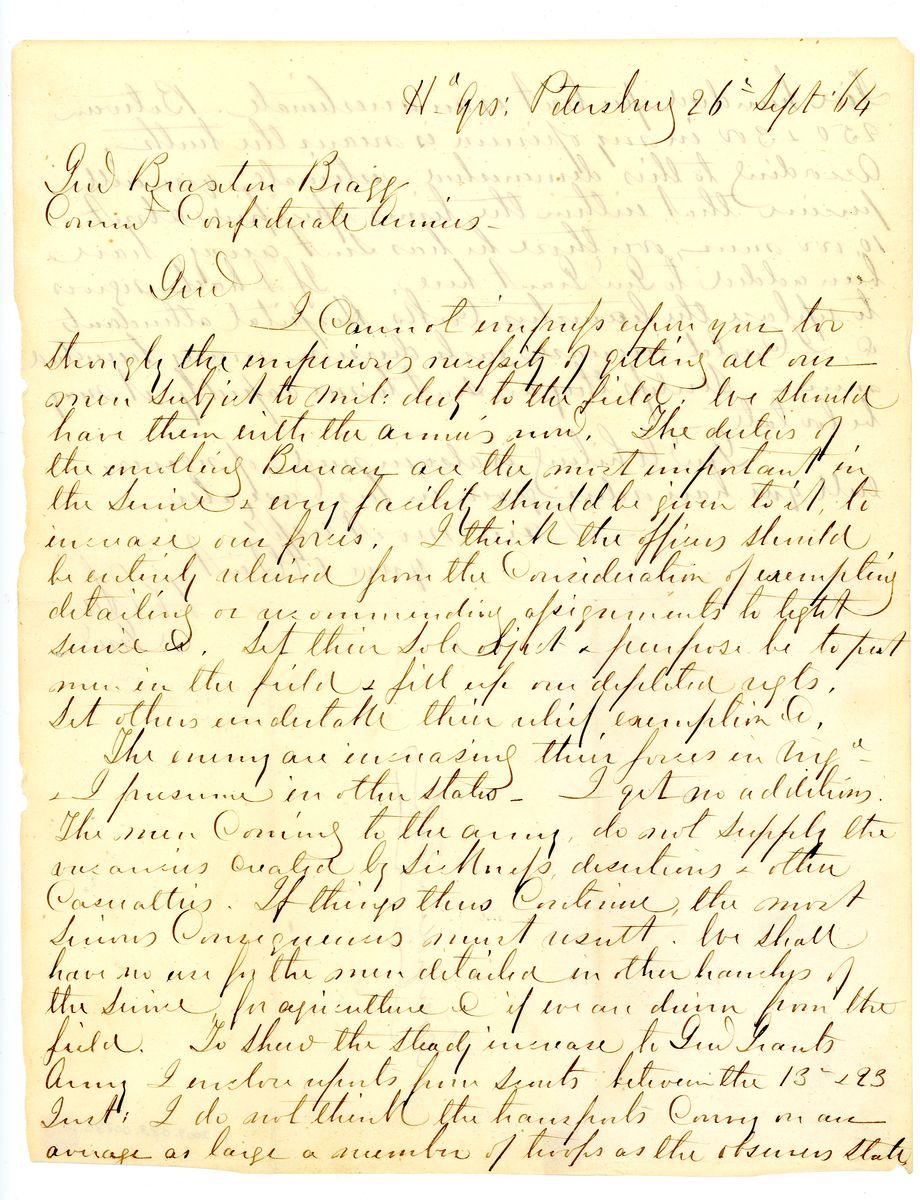 Image: Letter from Robert E. Lee to Braxton Bragg