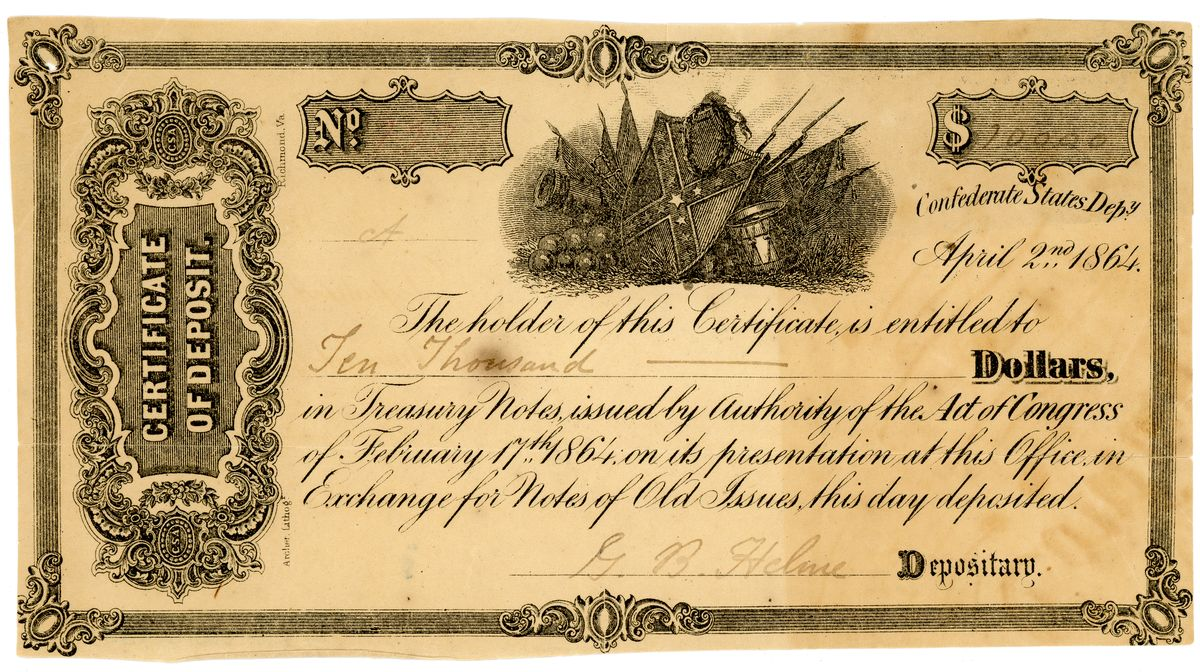 Image: Confederate States of America Certificate of Deposit