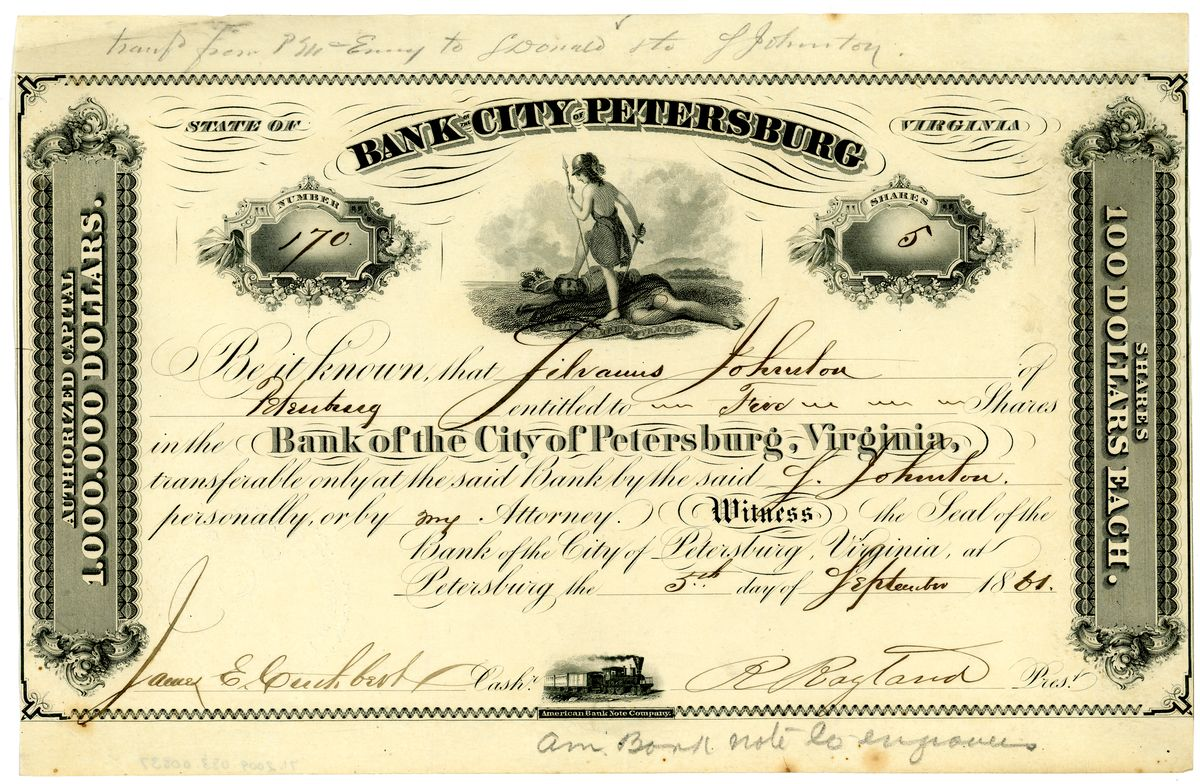 Image: Bank of the City of Petersburg Shares Certificate