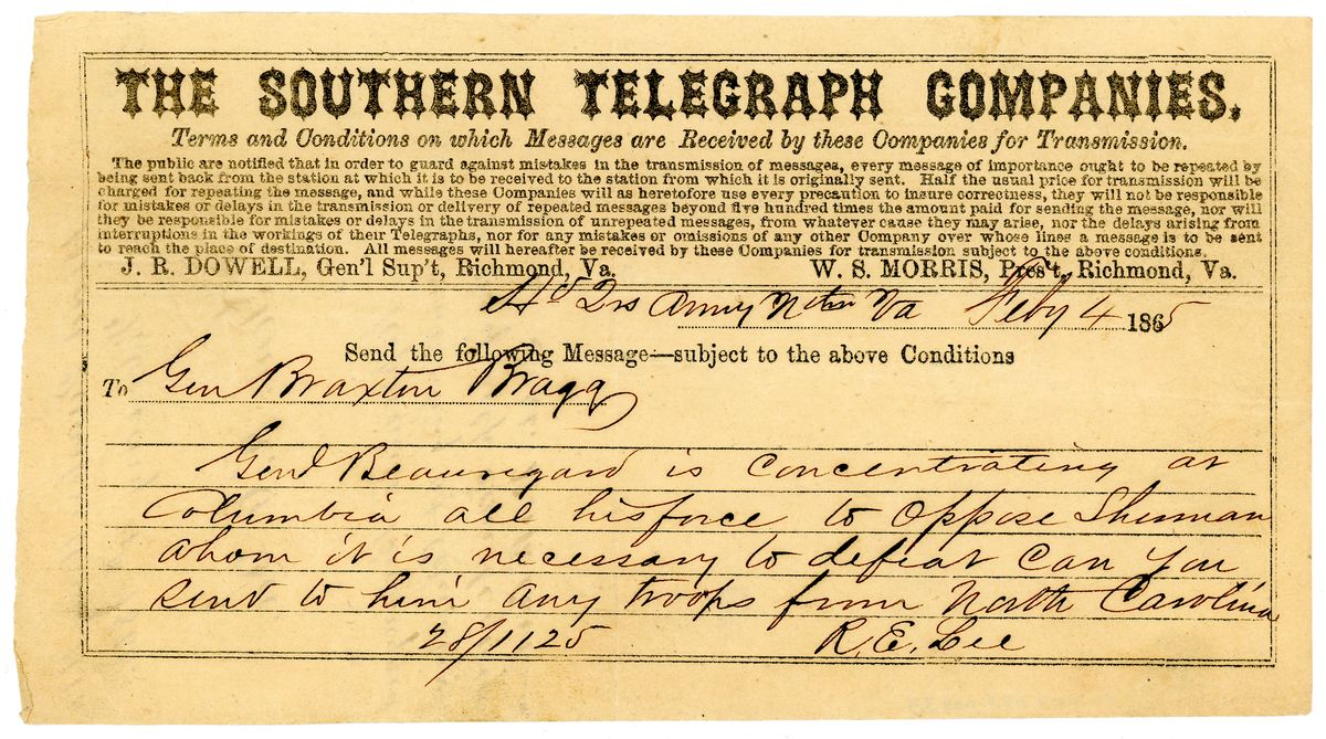 Image: Telegram from Robert E. Lee to Braxton Bragg