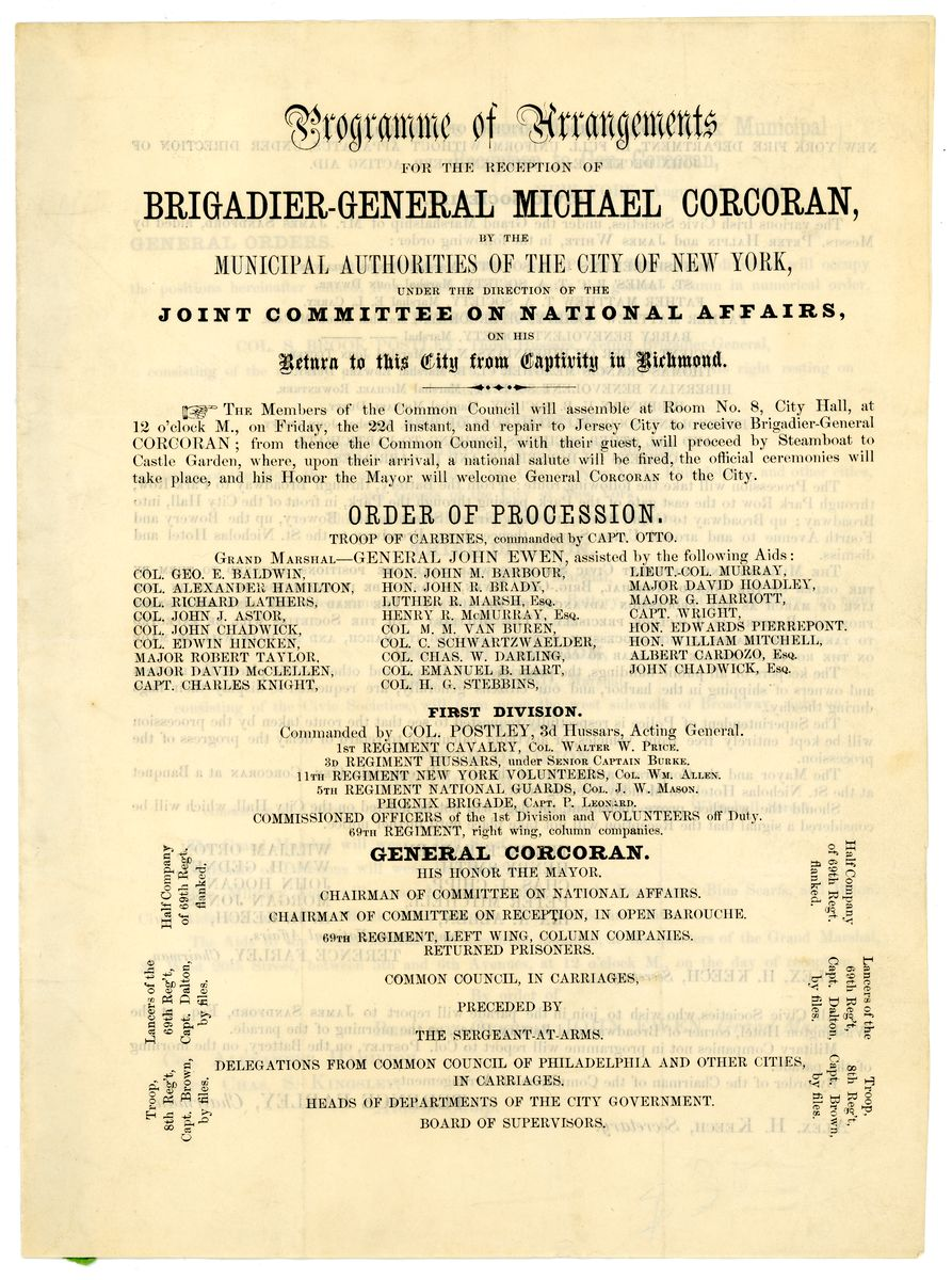 Image: Programme of Arrangements for the Reception of Brigadier-General Michael Corcoran
