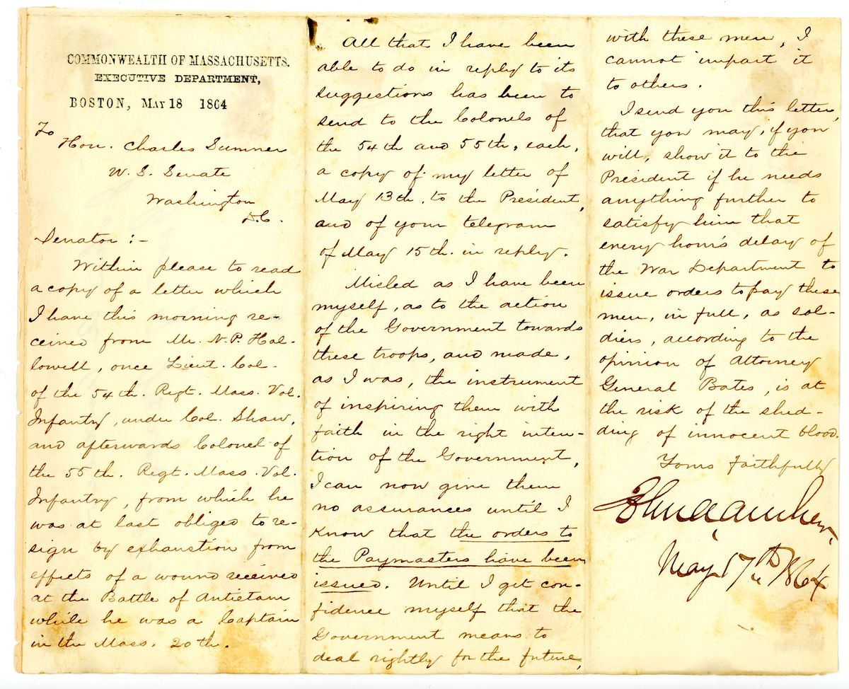 Image: Letter from John A. Andrew to Charles Sumner