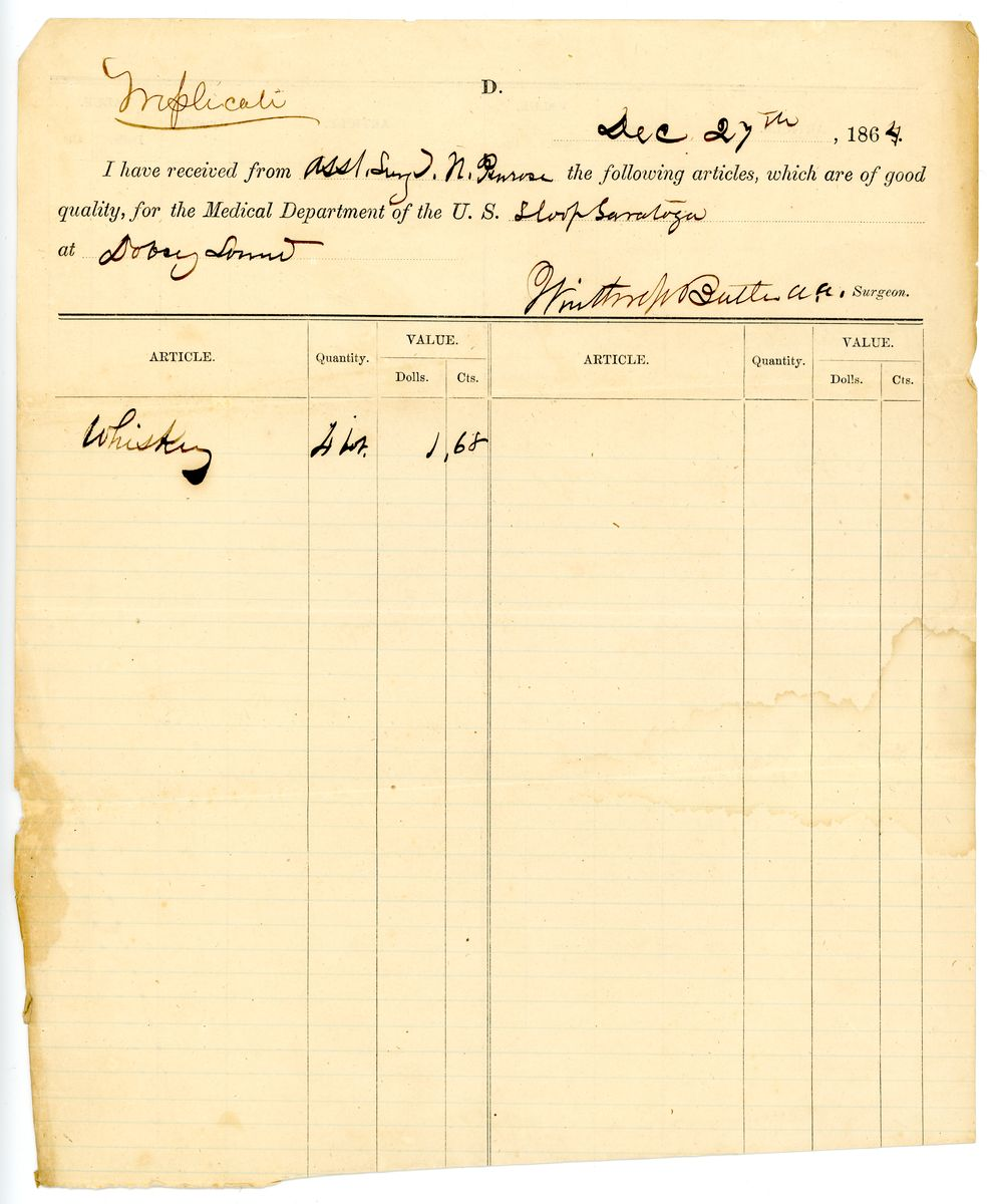 Image: Requisition and Receipt for Whiskey