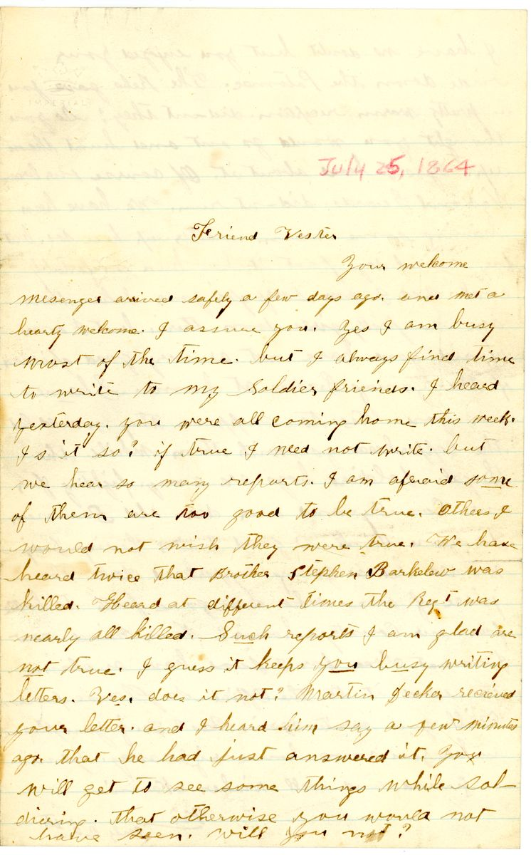 Image: Letter from Nancie Coulter to Sylvester Sherman