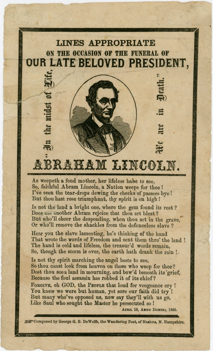 Image: Lines Appropriate on the Occasion of the Funeral of Our late Beloved President, Abraham Lincoln