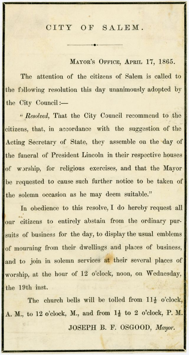 Image: Lincoln memorial services notice, Salem, Massachusetts