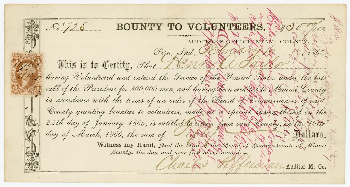 Image: Volunteer Bounty Voucher for Henry A. Taylor