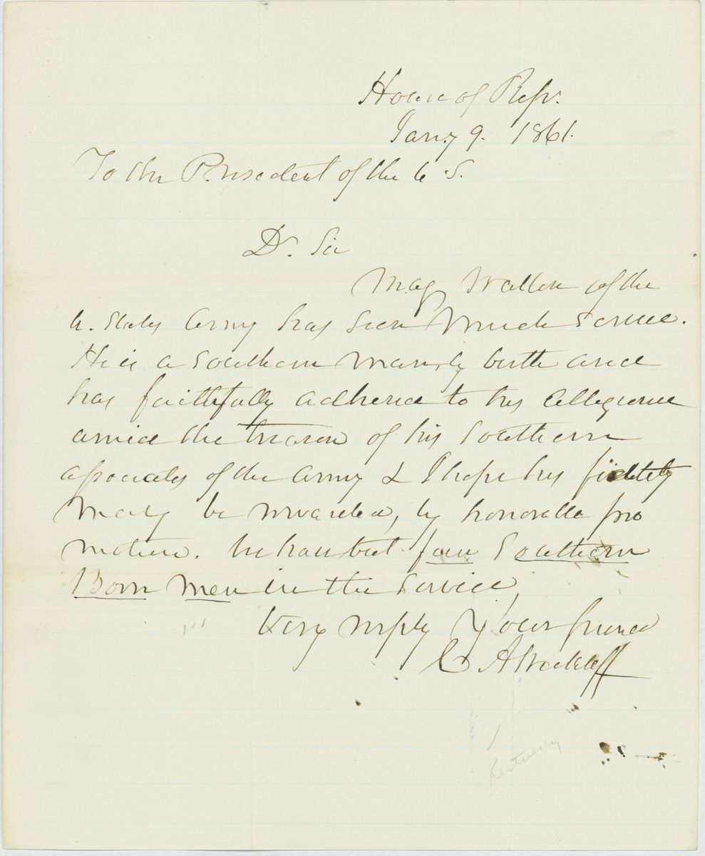 Image: Letter from Charles A. Wickliff to Abraham Lincoln