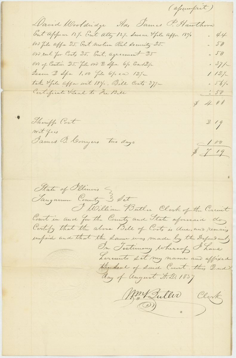 Image: Fee bill in James P. Hawthorn vs. David Wooldridge