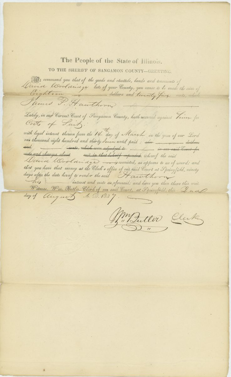 Image: Writ of Fieri Facias in James P. Hawthorn vs. David Wooldridge (assumpsit)