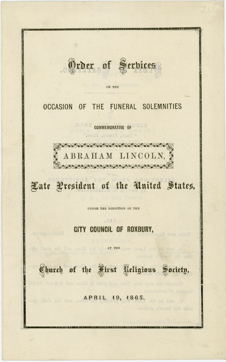 Image: Order of Services on the Occasion of the Funeral Solemnities Commemorative of Abraham Lincoln