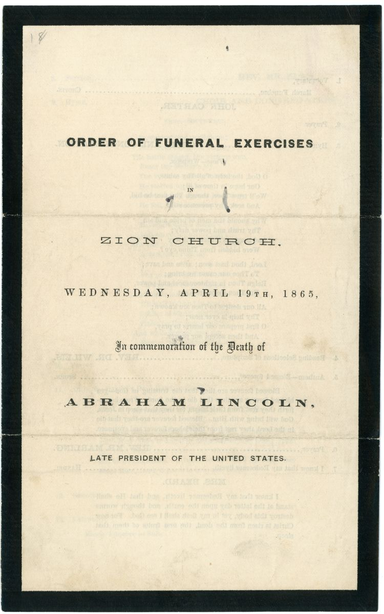 Image: Order of Funeral Exercises in Zion Church
