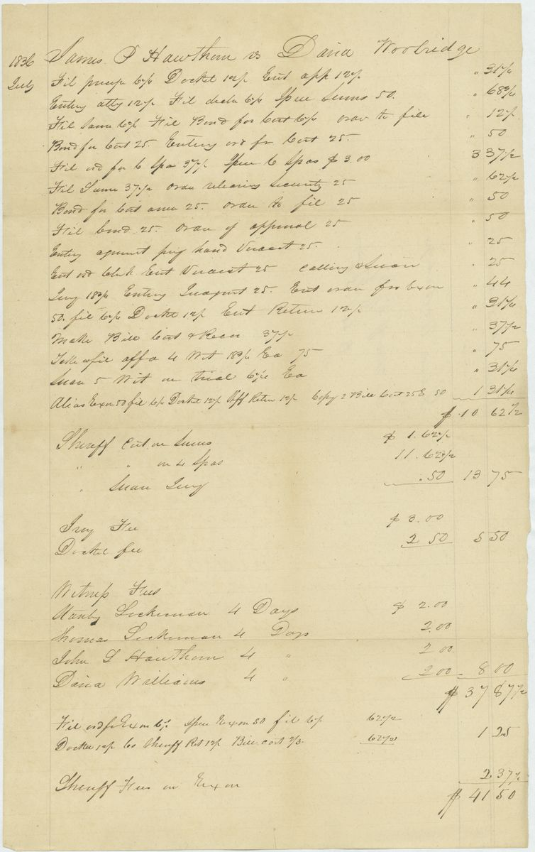 Image: Fee bill in James P. Hawthorn vs. David Wooldridge (trespass vi et armis)