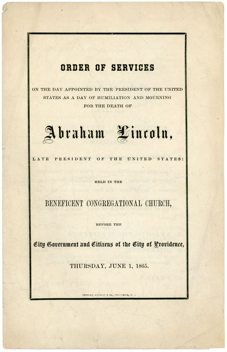 Image: Order of Services on the Day...of Humiliation and Mourning for the Death of Abraham Lincoln
