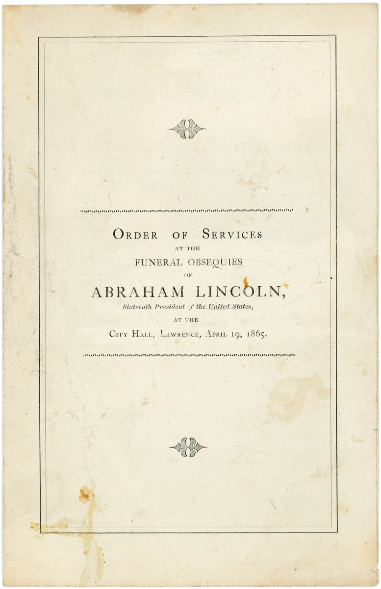Image: Order of Services at the  Funeral Obsequies of Abraham Lincoln