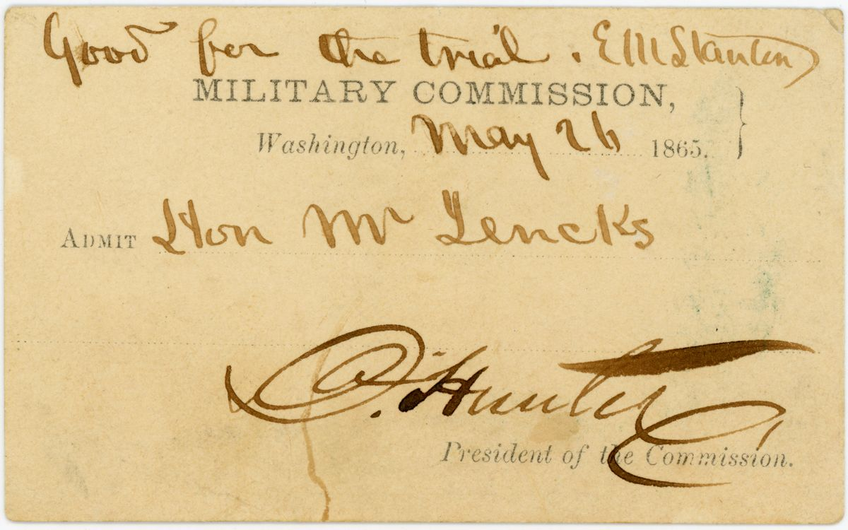 Image: Ticket to the trial of the Lincoln conspirators