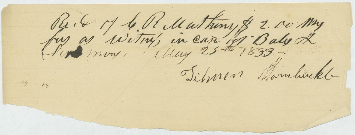 Image: Witness receipt signed by Tilman Hornbuckle