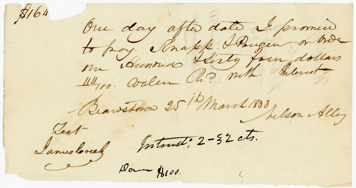 Image: Promissory Note by Nelson Alley