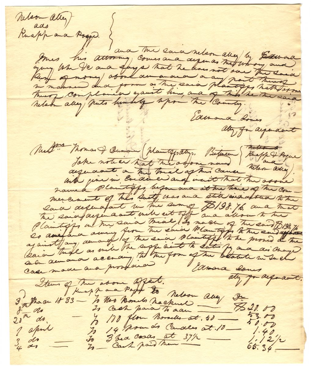 Image: Declaration in Augustus Knapp & Thomas Pogue vs. Nelson Alley