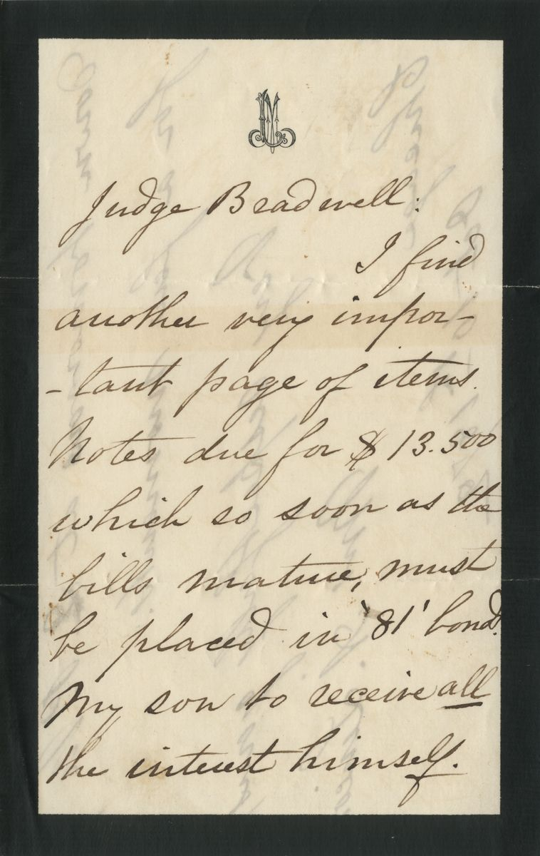 Image: Letter from Mary Todd Lincoln to James B. Bradwell