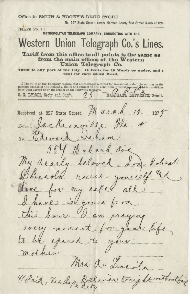 Image: Telegram from Mary Todd Lincoln to Edward Isham