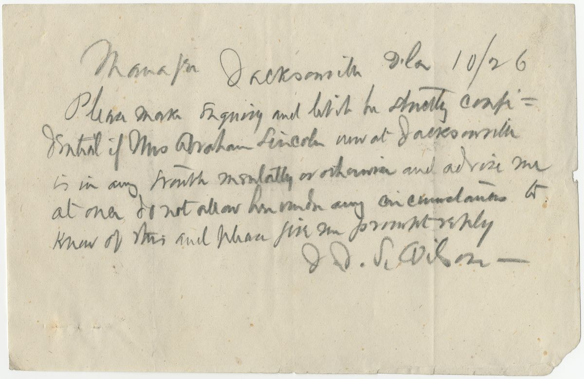 Image: Telegram from J.J.S. Wilson to Manager