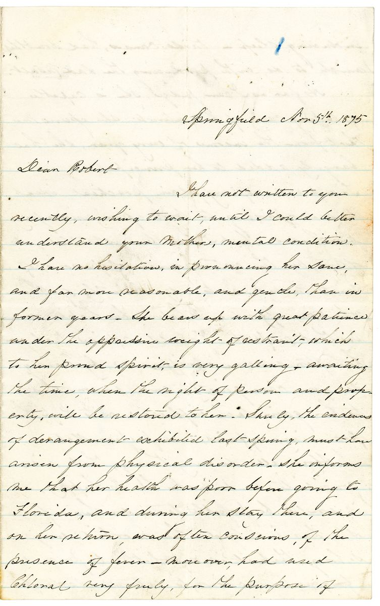 Image: Letter from Elizabeth Todd Edwards to Robert Todd Lincoln