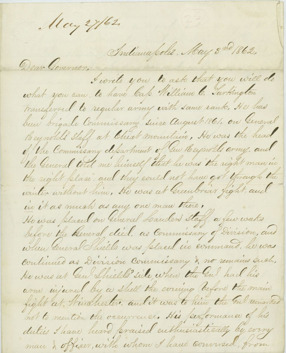 Image: Letter from John S. Tarkington to Governor Oliver P. Morton