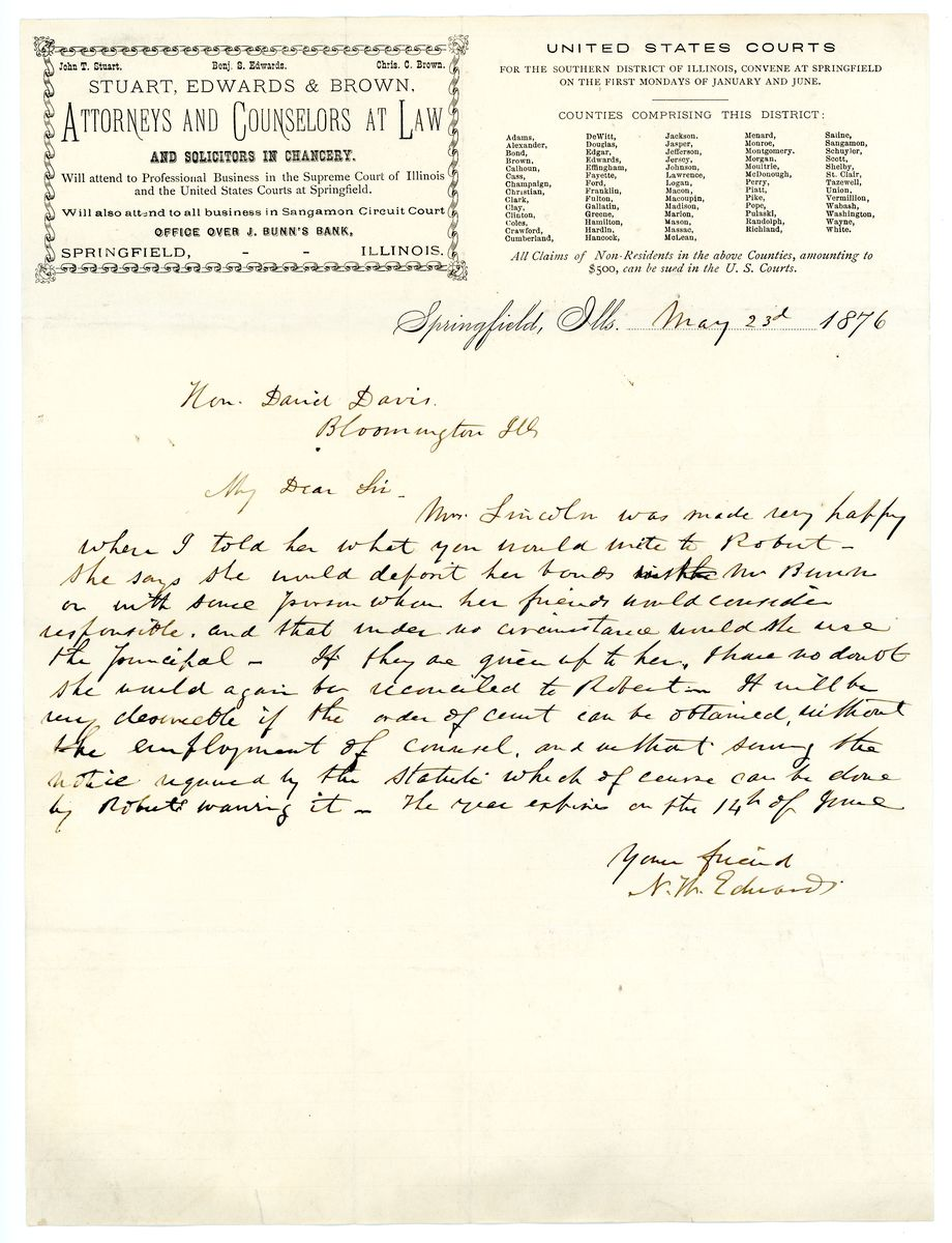 Image: Letter from Ninian W. Edwards to David Davis
