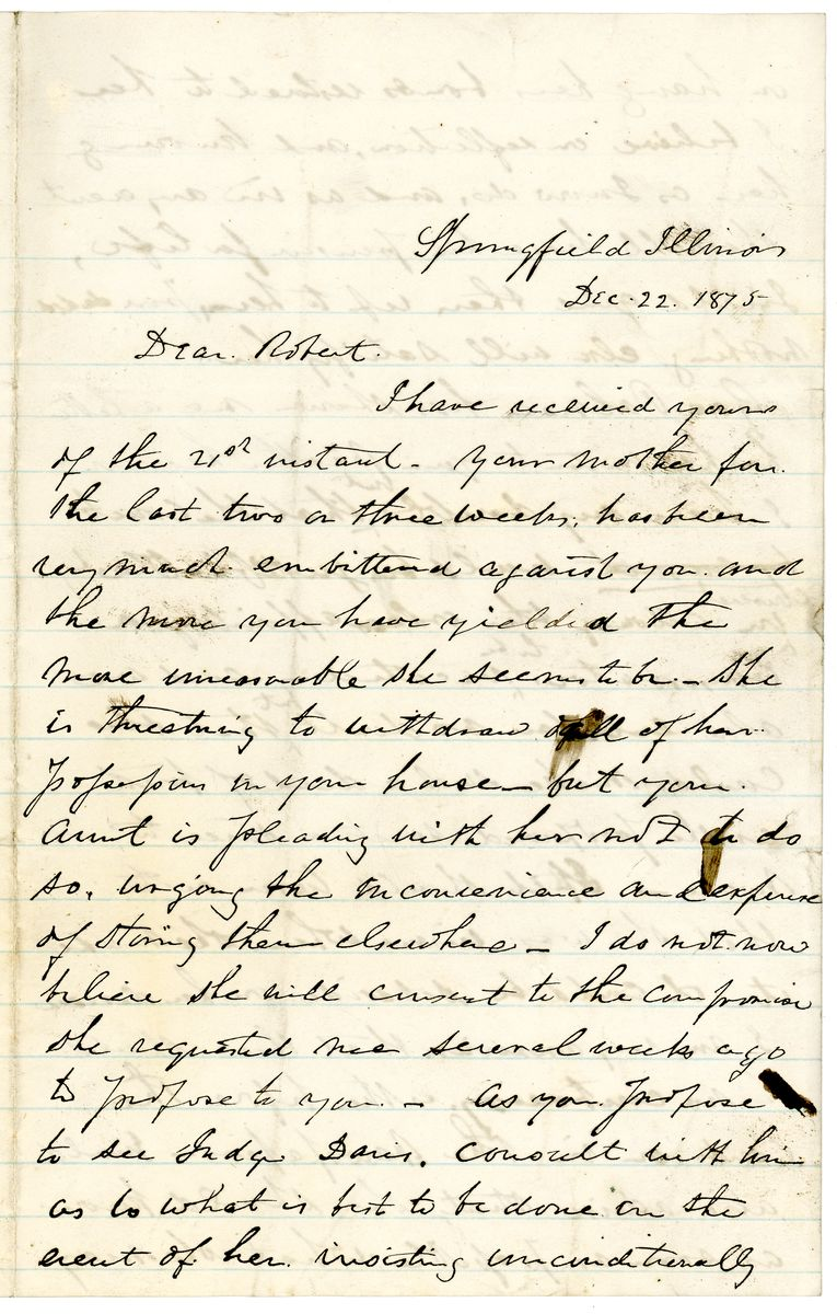 Image: Letter from Ninian W. Edwards to Robert Todd Lincoln