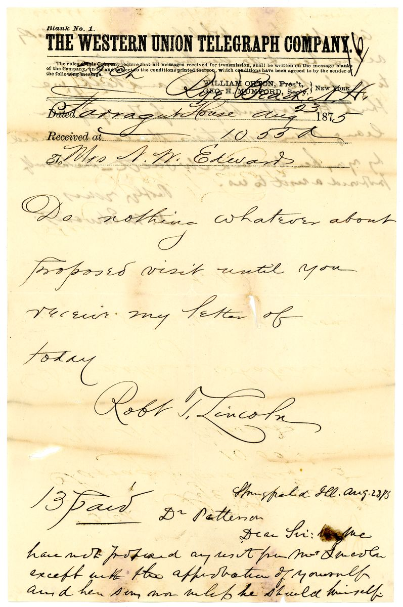 Image: Letter from Ninian W. Edwards to Richard J. Patterson