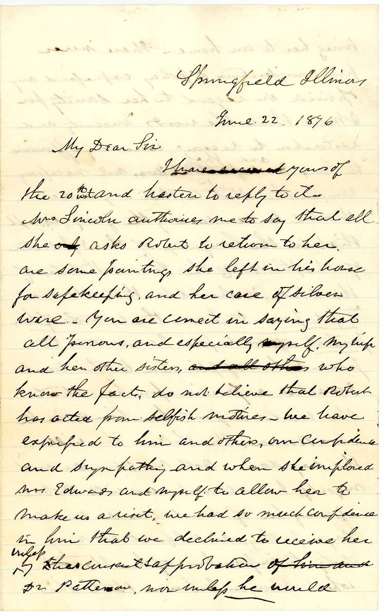 Image: Letter from Ninian W. Edwards to Leonard Swett