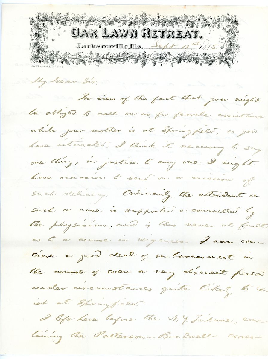 Image: Letter from Andrew W. McFarland to Robert Todd Lincoln