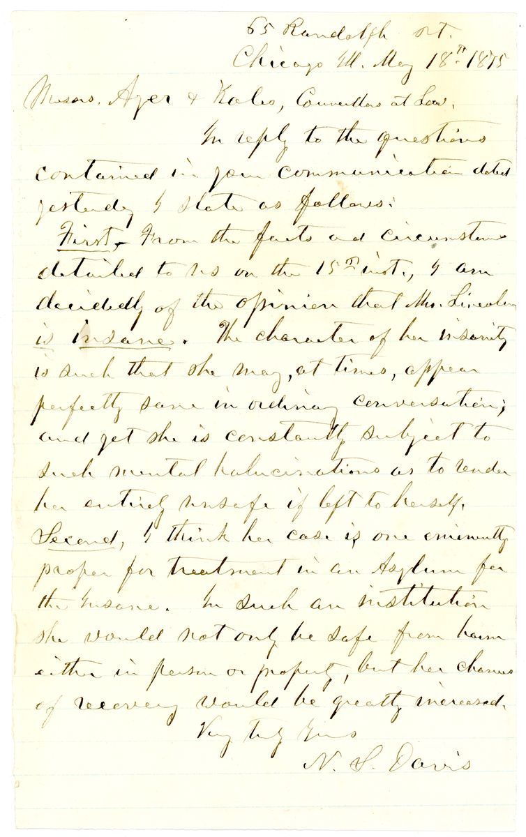 Image: Letter from Nathan Smith Davis to Ayer and Kales