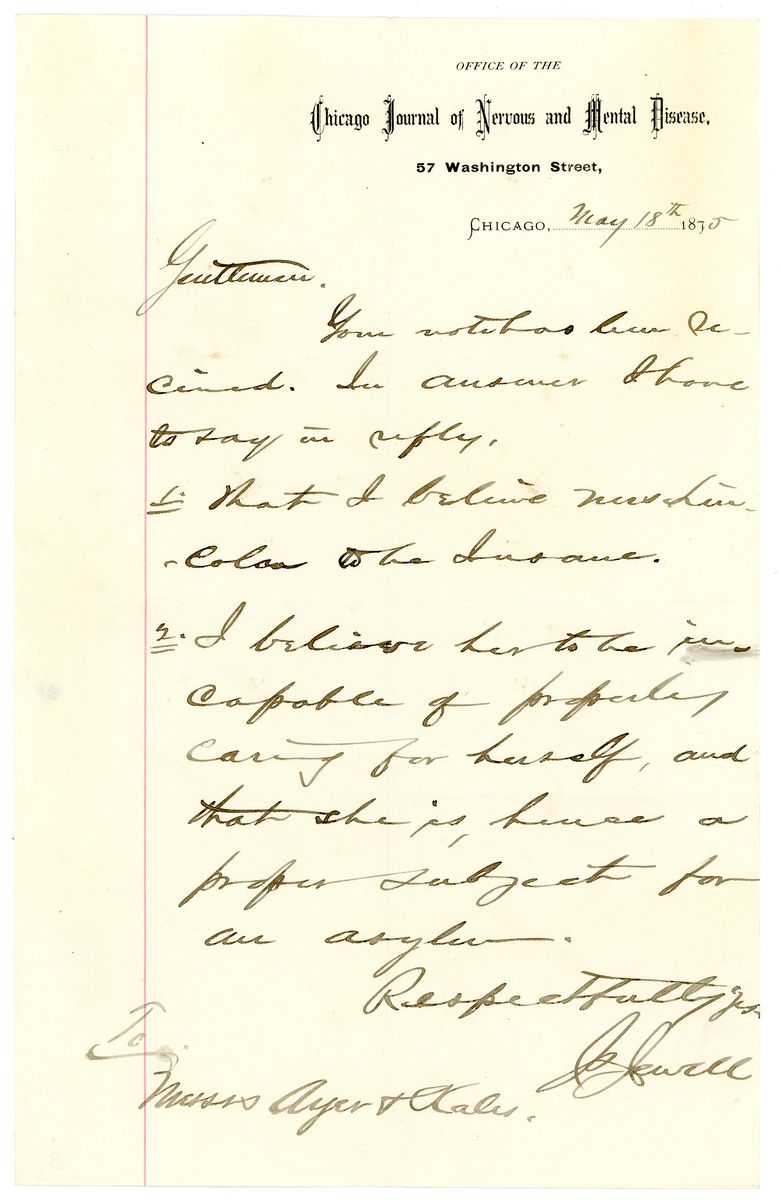Image: Letter from James Stewart Jewell to Ayer and Kales