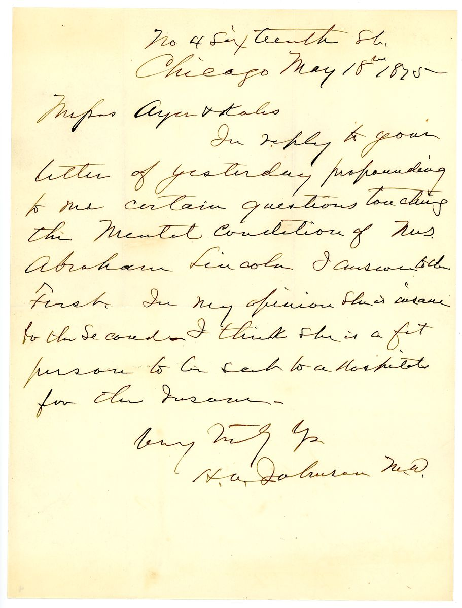 Image: Letter from Hosmer Allen Johnson to Ayer and Kales
