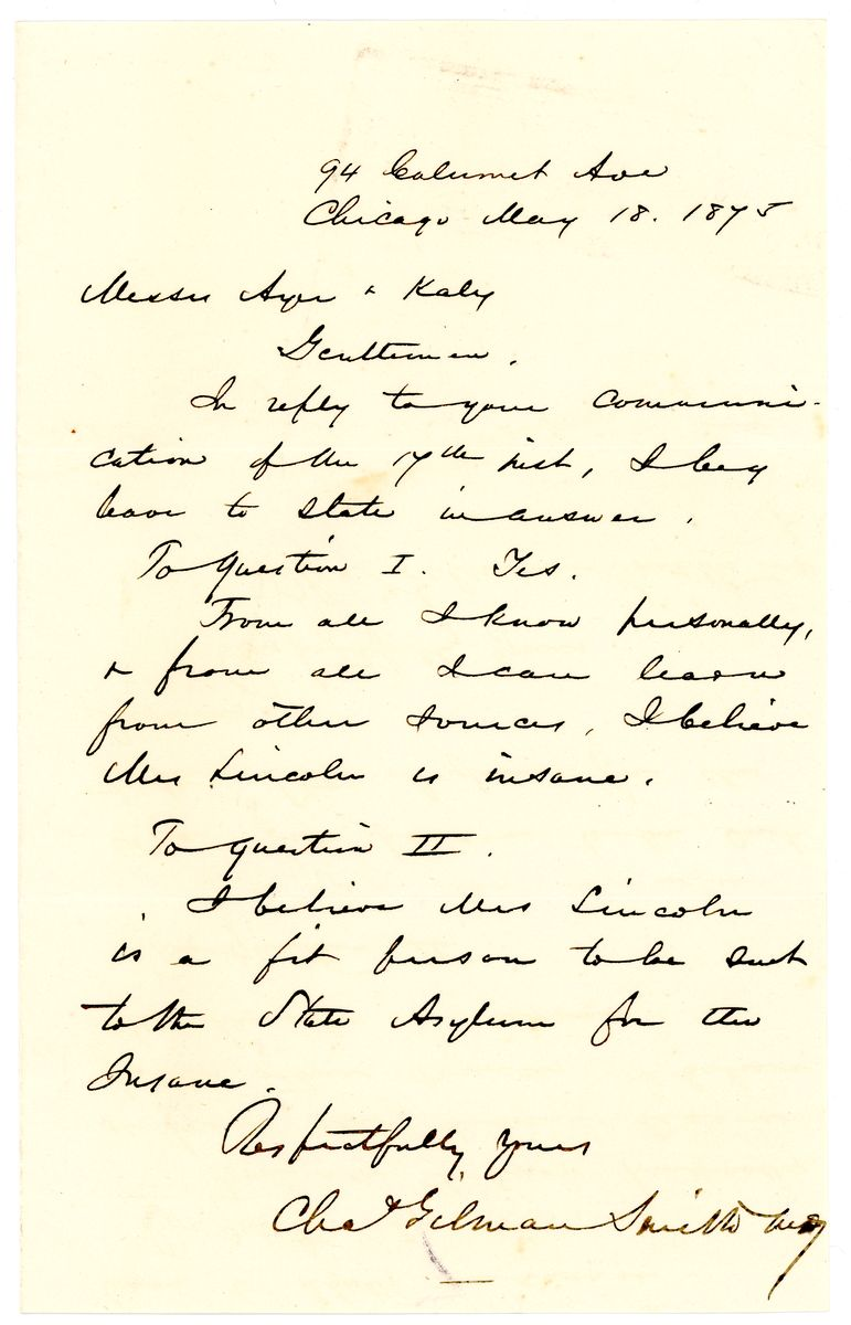 Image: Letter from Charles Gilman Smith to Ayer and Kales