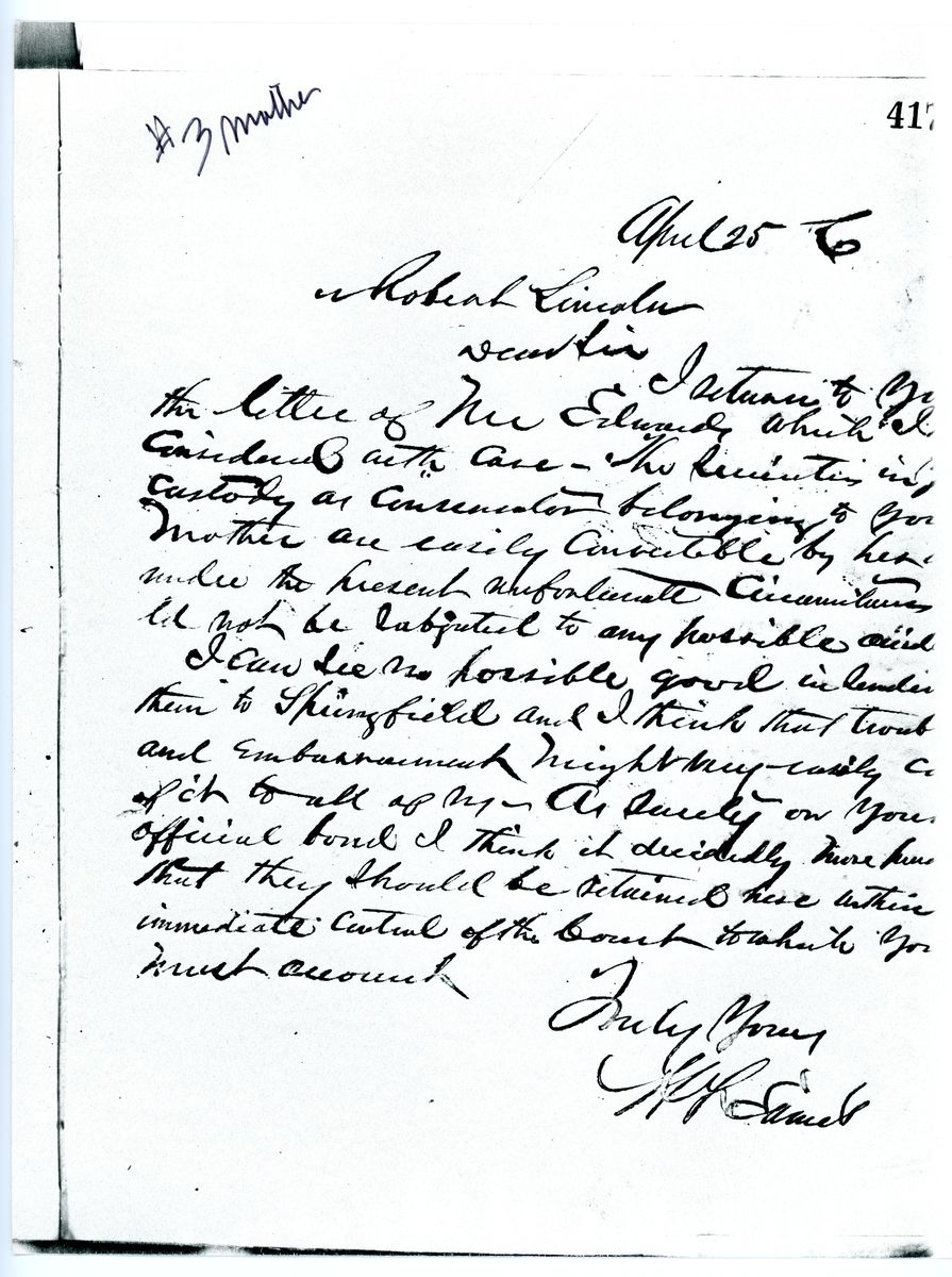Image: Letter from Henry F. Eames to Robert Todd Lincoln