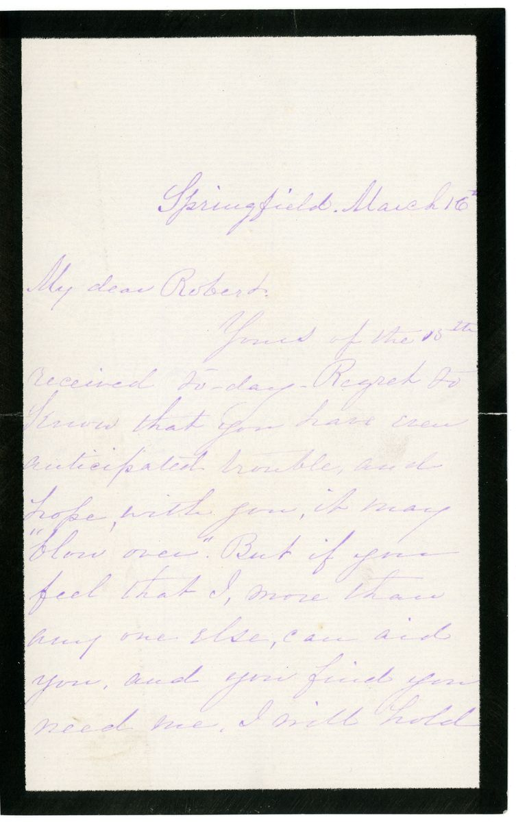 Image: Letter from Elizabeth Todd Grimsley Brown to Robert Todd Lincoln