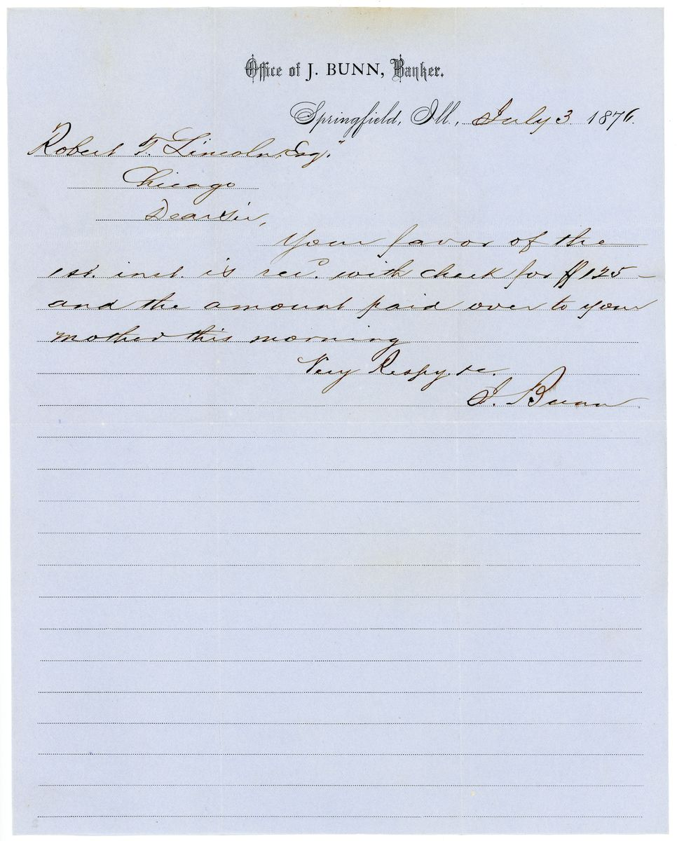 Image: Letter from Jacob Bunn to Robert Todd Lincoln