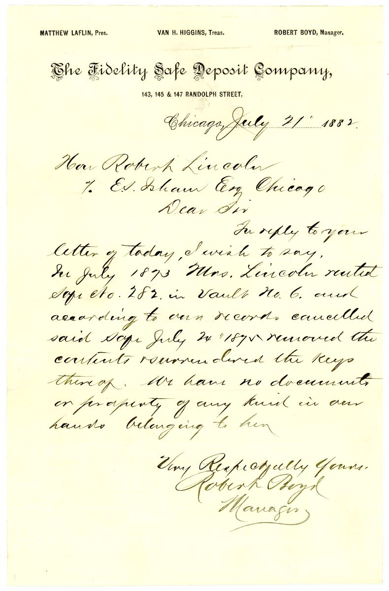 Image: Letter from Robert Boyd to Robert Todd Lincoln