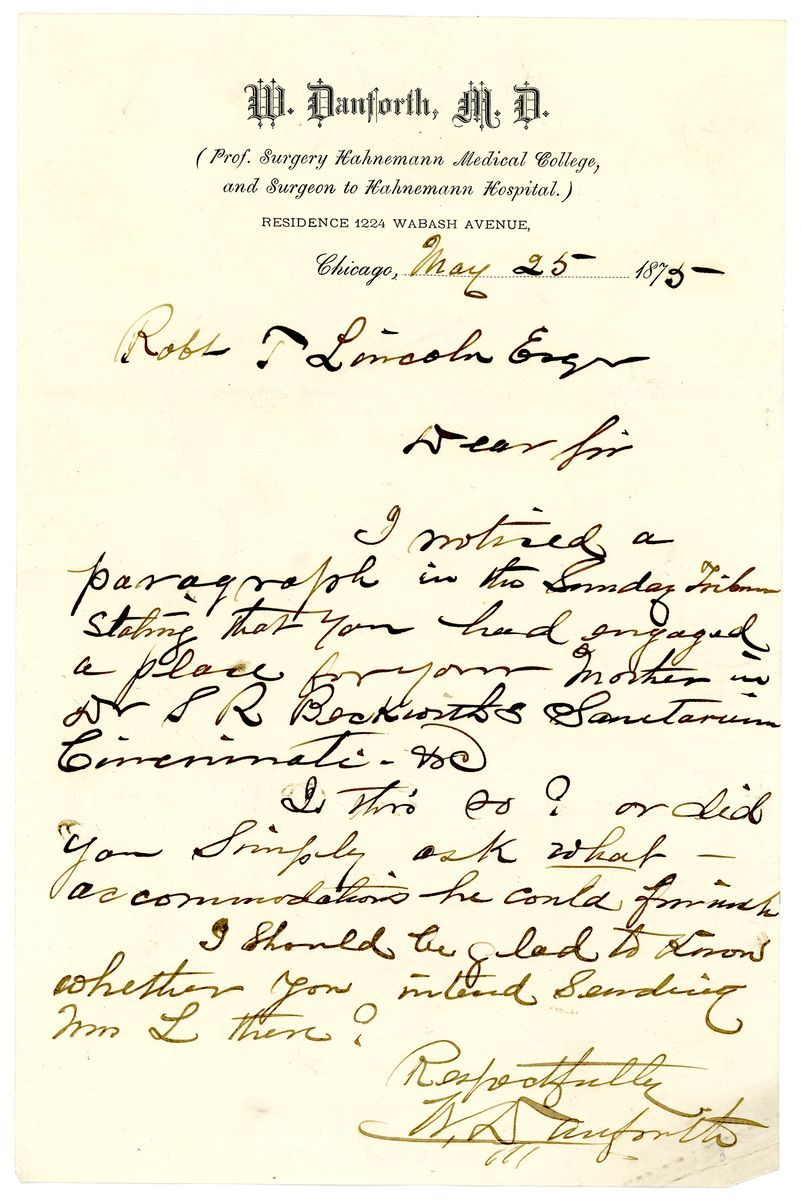 Image: Letter from Willis Danforth to Robert Todd Lincoln