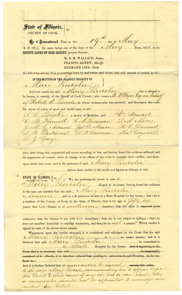 Image: Proceedings and Order Declaring Mary Todd Lincoln an Insane Person