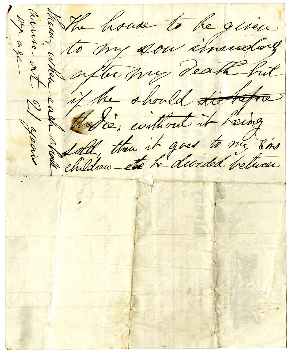 Image: Draft of Mary Todd Lincoln's Will